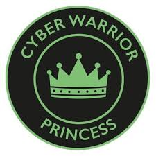 Cyber Warrior Princess round logo - round with black background and green writing saying Cyber Warrior Princess around the edges in capitals. The is a green crown in the middle.