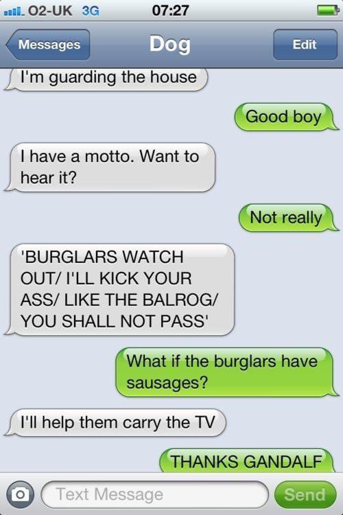 Text from the dog - I'm guarding the house - Good boy - I have a motto. Want to hear it? - Not really = BURGULARS WATCH OUT/I'LL KICK YOUR ASS/ LIKE THE BALROG/YOU SHALL NOT PASS' =- What if the burglars have sausages? - I'll help them carry the TV - Thanks Gandalf!